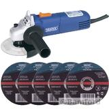 Draper 68419 600W 115mm Angle Grinder Kit With 5 Metal Cutting Discs