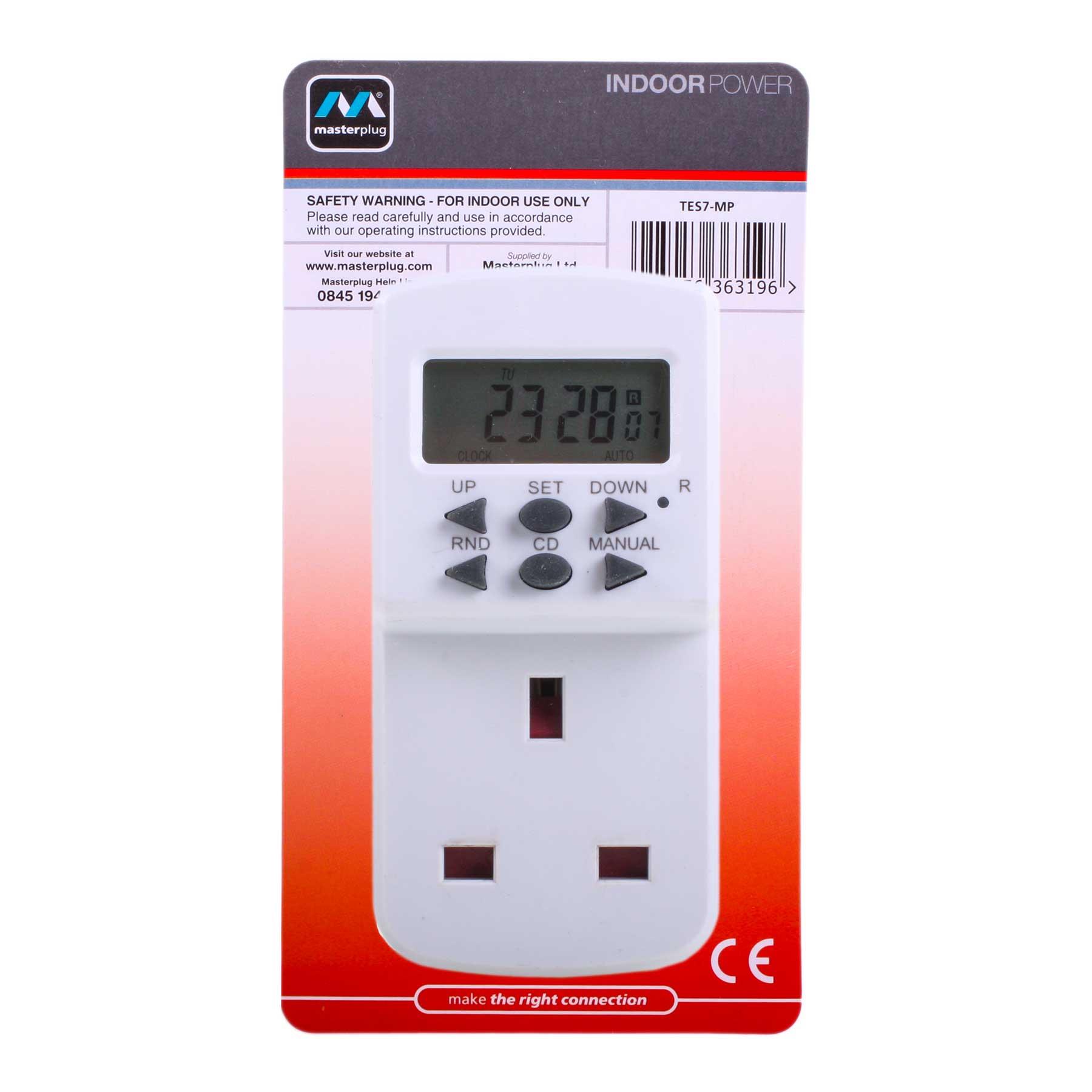 Masterplug Te7 Mp 7 Day Plug In Digital Timer Switch