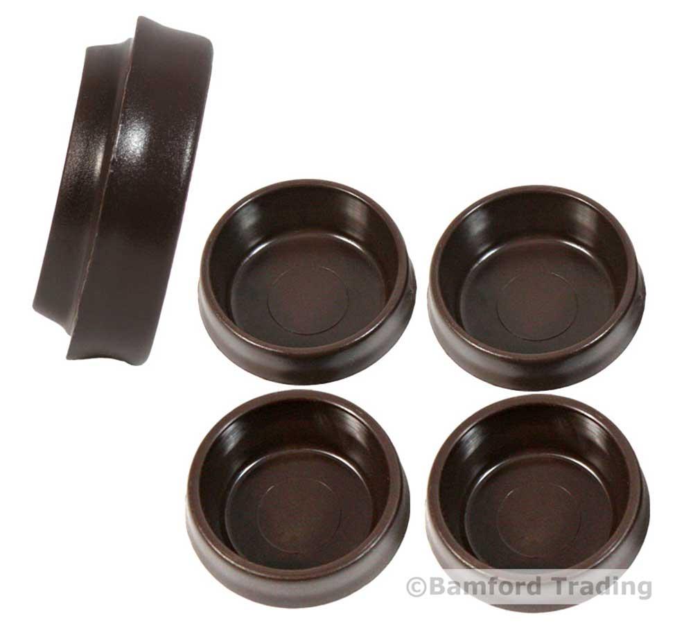4 brown castor cups 45mm furniture chair leg floor carpet for Furniture protectors