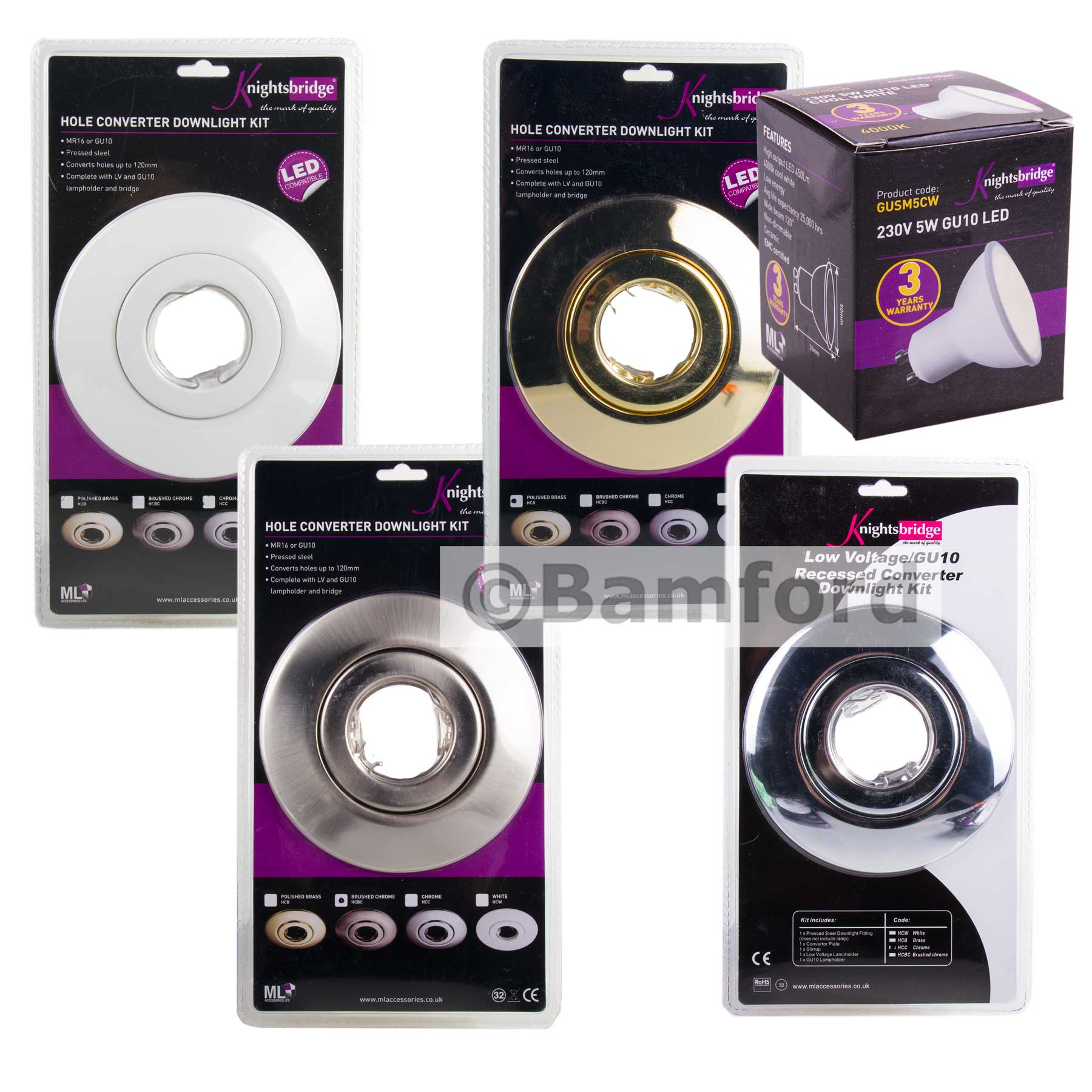 spotlight downlight hole converter conversion kit with 5w gu10 lamp bulb set ebay. Black Bedroom Furniture Sets. Home Design Ideas
