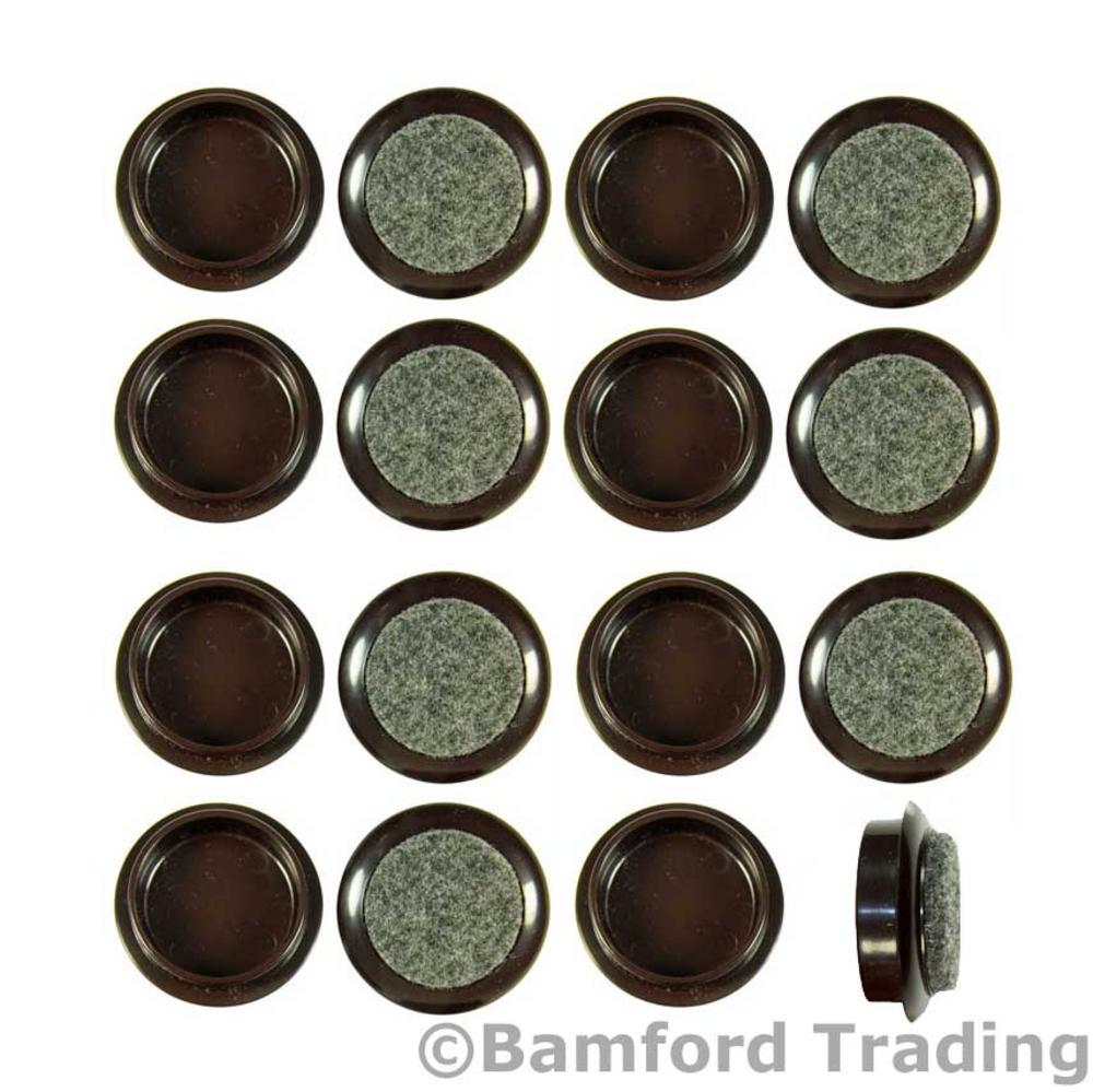 Pack of 16 x 44mm Small Brown Felt Backed Caster Cups