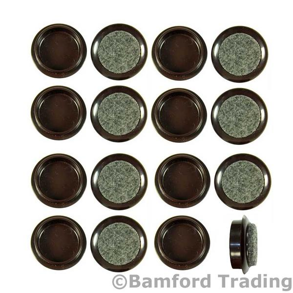 Pack of 16 x 44mm Small Brown Felt Backed Caster Cups Thumbnail 1