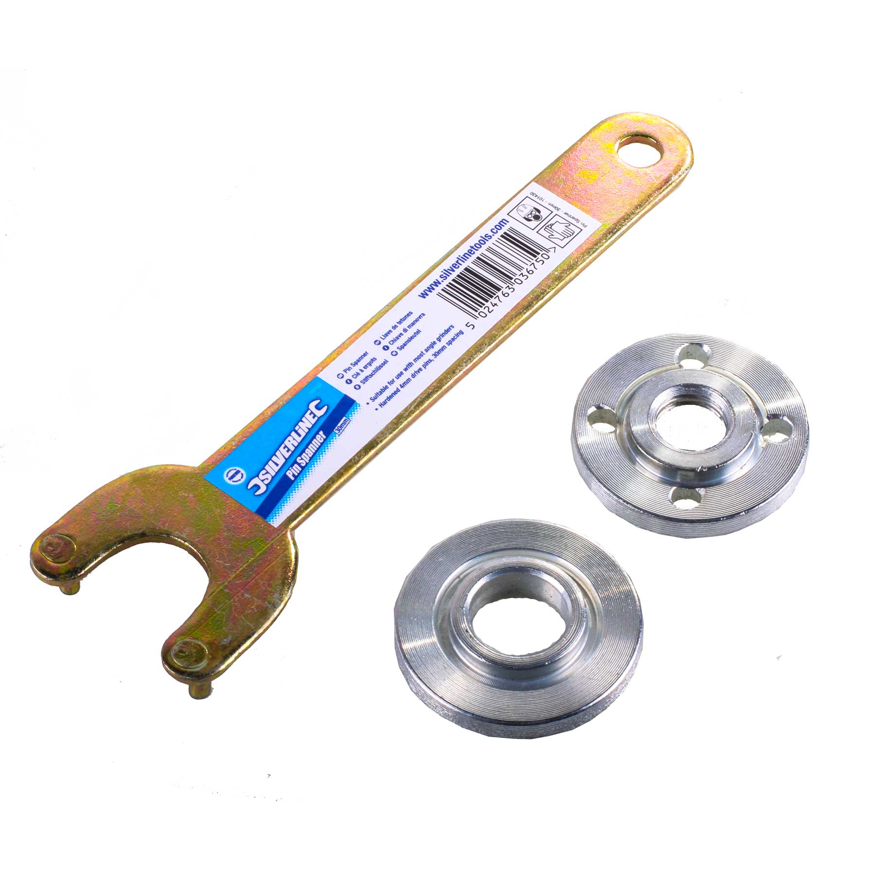 Angle grinder key pin wrench spanner and flange nut set