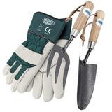 Draper Carbon Steel Hand Fork & Trowel Set With Large Gardening Gloves
