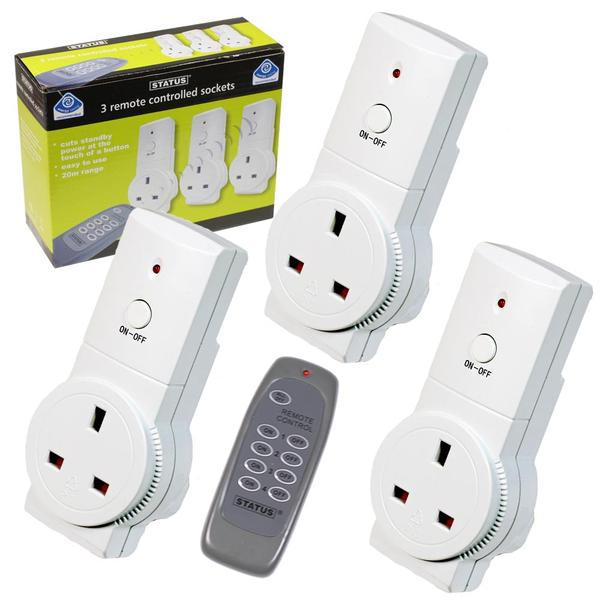 Product image for 3 Self Learning Energy Saving Remote Controlled Mains Sockets