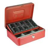Red Sterling Steel Cash Box with Coin Sorting/Counting Counter Tray