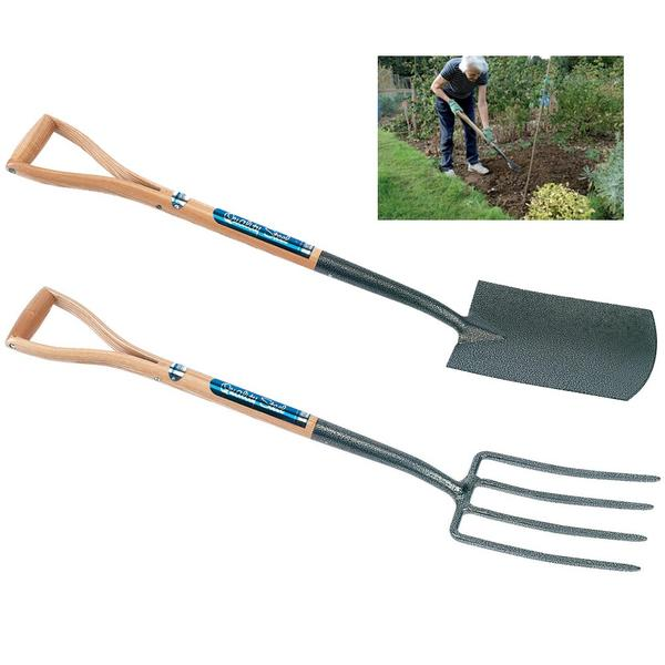 Draper carbon steel garden spade and fork set with ash for Garden fork and spade set