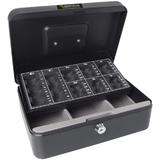 Black Sterling Steel Cash Box with Coin Sorting/Counting Counter Tray