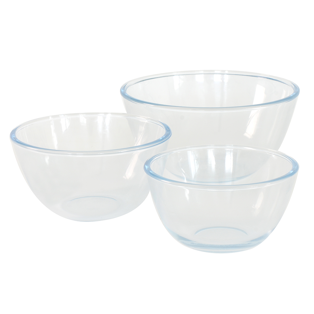 ProCook Glass Mixing Bowl Set Baking Accessories Microwave ...