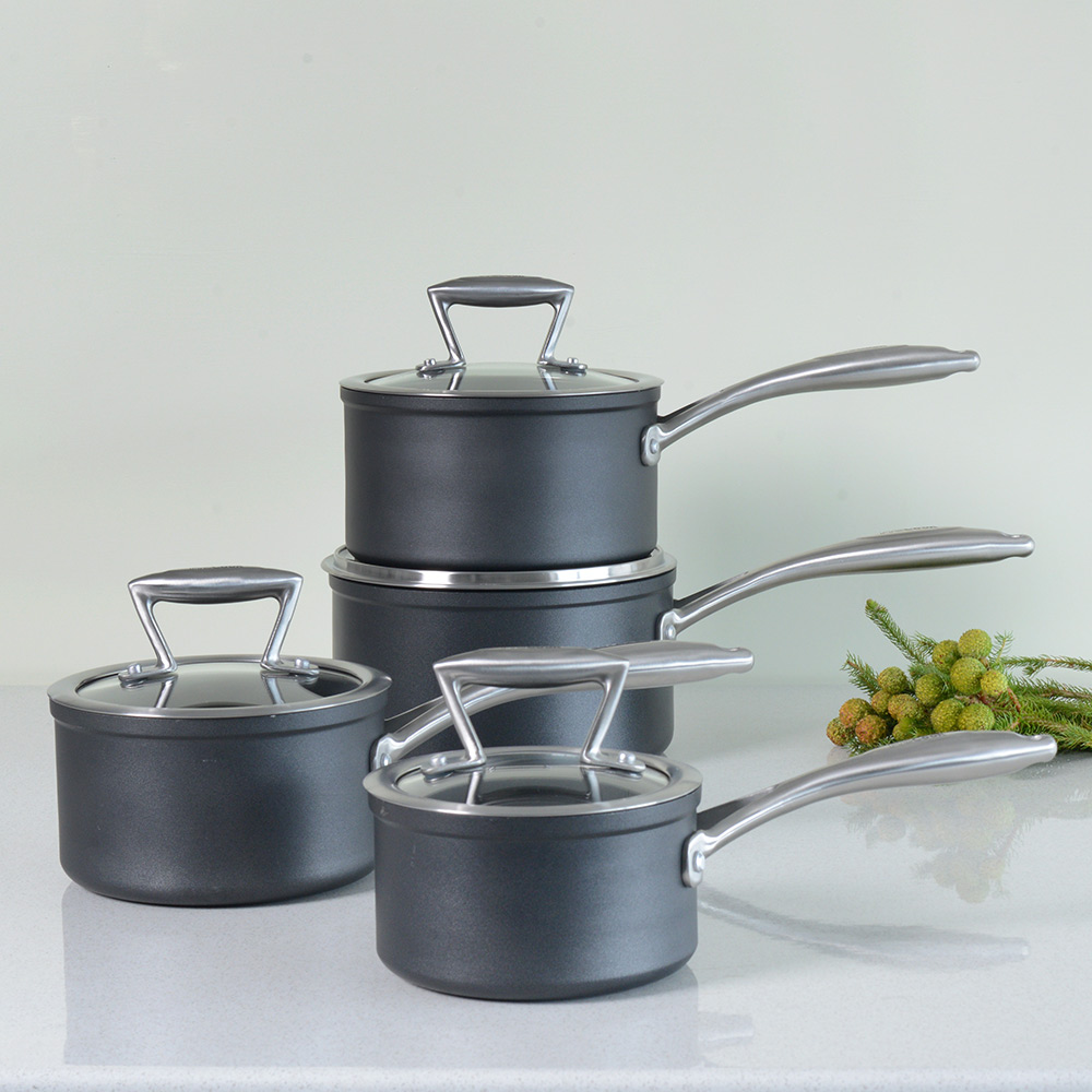 Procook forged non stick induction saucepan set pots and for Perfect kitchen cookware