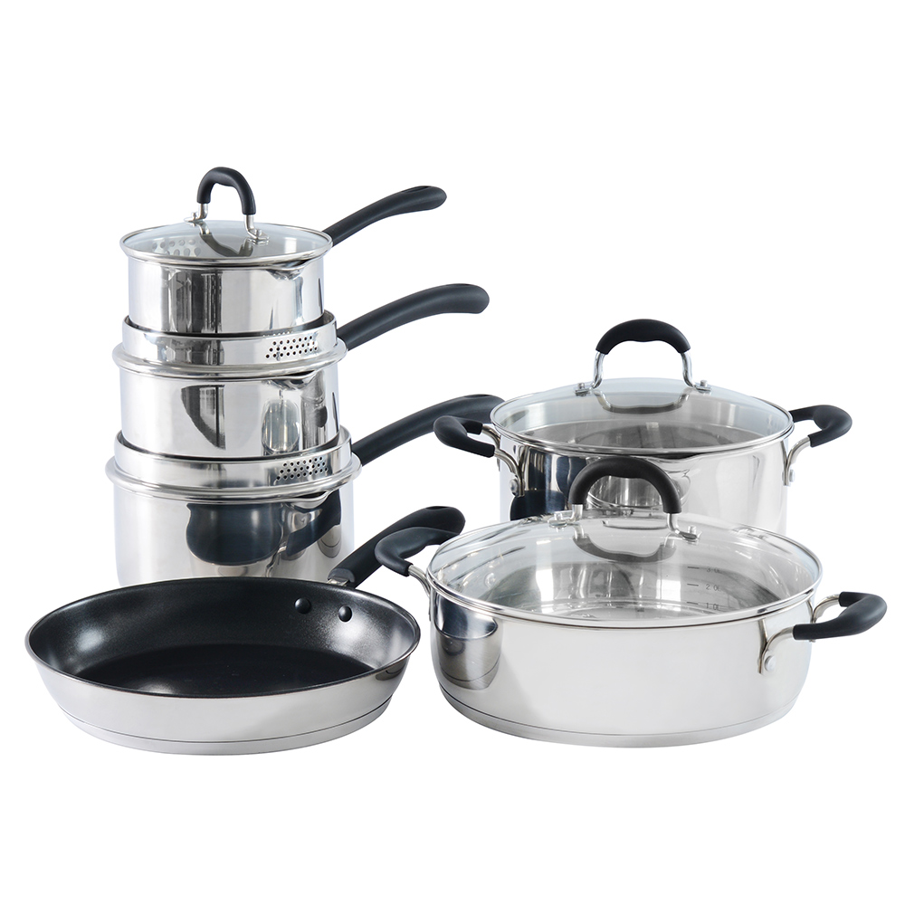 Procook Stainless Steel Strain Pour Cookware Set Induction