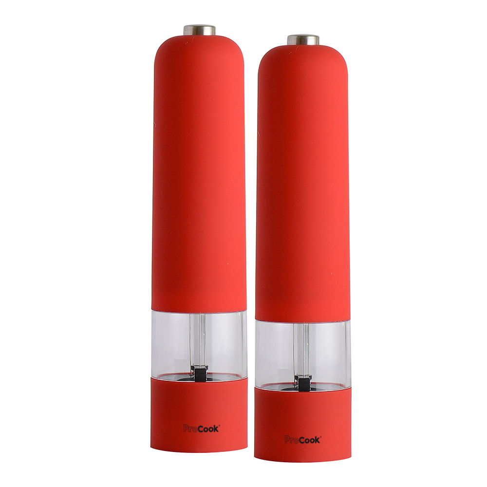 Brand-New-ProCook-Soft-Touch-Electric-Salt-and-Pepper-Mill-Set-Red