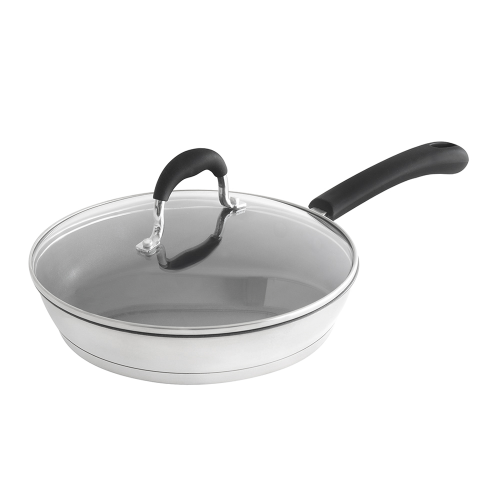 "Carlisle 60708RS SSAL 8"" Stainless Steel / Aluminum Fry Pan 