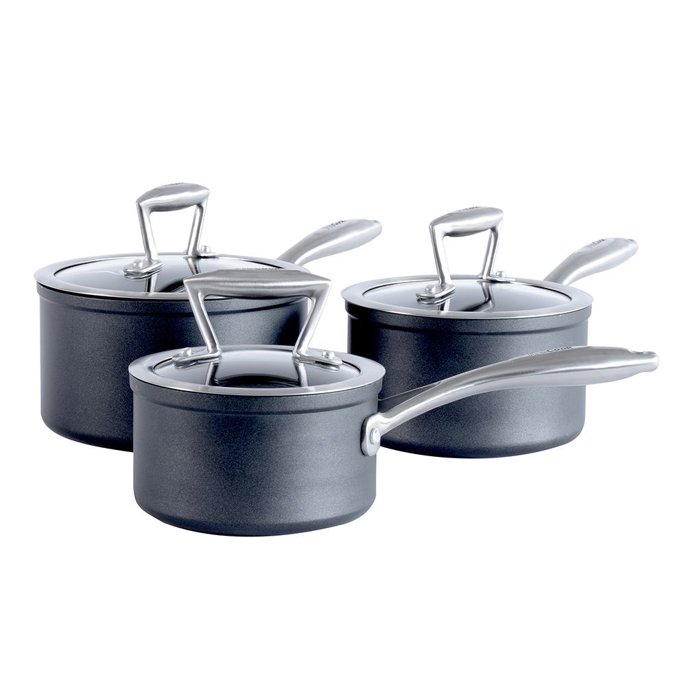 Kitchen Non Stick Set: ProCook Forged Non-Stick Induction Saucepan Set Pots And