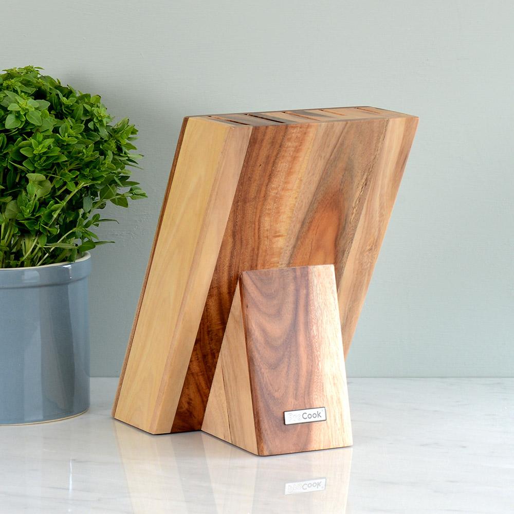 procook messerblock aus akazienholz f r bis zu 5 messer unbest ckt mit procoo ebay. Black Bedroom Furniture Sets. Home Design Ideas