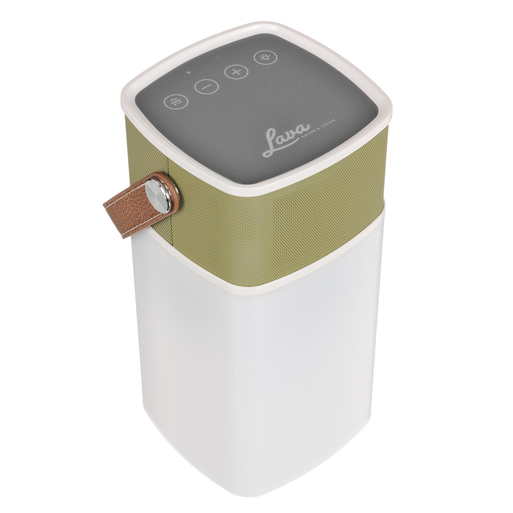 Lava BrightSounds Altavoz Bluetooth 2, batería de linterna, teléfono Powerbank, mostaza