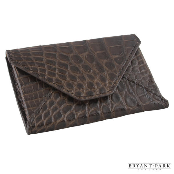 Brown Genuine Alligator Mens Envelope Wallet Made in USA by Bryant Park