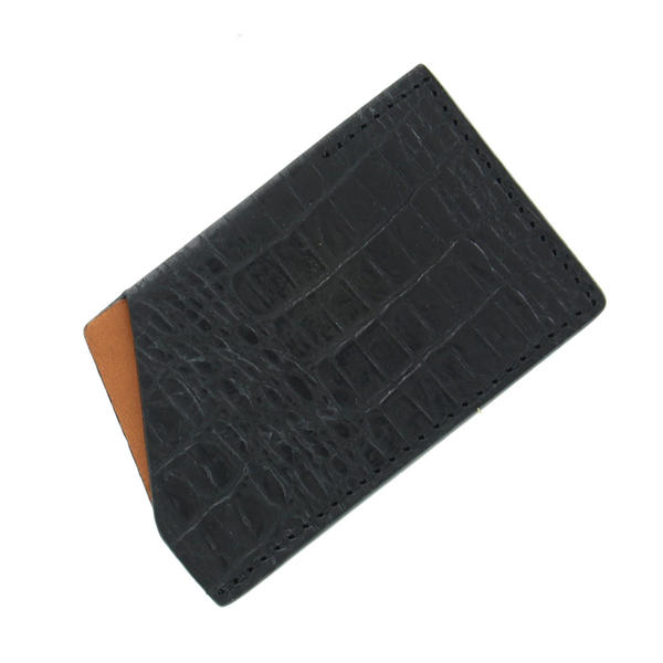 Bryant Park Mens Black Slim Card Case Crocodile Grain Bambino Leather