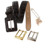 "Heart Pin Brown Leather Crocodile Grain Belt Interchangeable Buckles 28 - 32"" Thumbnail 3"