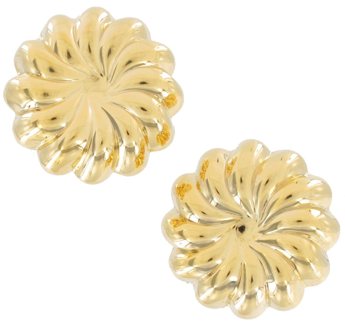 Private Label Button Clip Earrings Yellow Gold Tone Large Big Lightweight Bundt Jello Mold at Sears.com