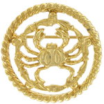 View Item Vintage Gold Tone Cancer Crab Zodiac Circle Pin Brooch