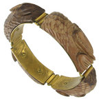 View Item Handcarved Wood Link Relief Bracelet