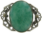 View Item Antique Filigree Green Glass Brooch Handworked Stamping