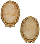 View Item Vintage Florenza Genuinel Shell Cameo Clip On Earrings