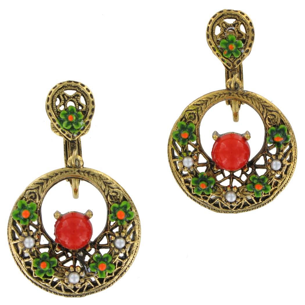 Vintage Art Red Green Flower Clip On Dangle Filigree Earrings