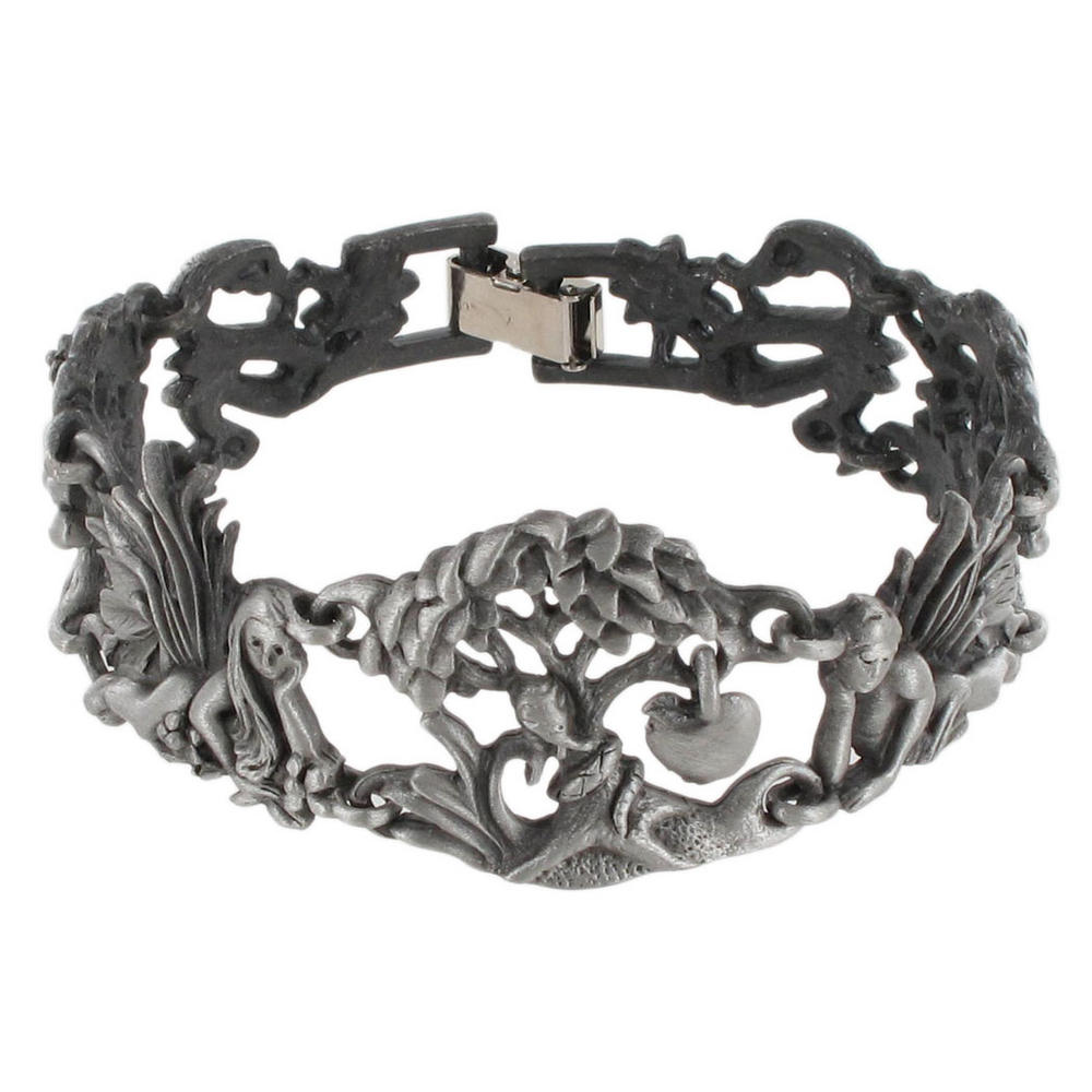 Gun Metal Adam Eve Snake Apple Link Bracelet Preview