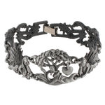 View Item Gun Metal Adam Eve Snake Apple Link Bracelet