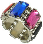 View Item Big Rhinestone Pink Blue Red Black Faux Jewel Stretch Chunky Bracelet