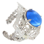 Kim Craftsmen Blue Art Deco Style Cocktail Ring