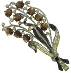View Item Brown 40's Moonglow Floral Lucite Flower Pin Brooch