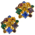 View Item 80's Multicolored Green Blue Purple Rhinestone Cluster Clip On Earrings