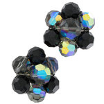 View Item Black AB Crystal Laguna Flower Cluster Clip On Earrings