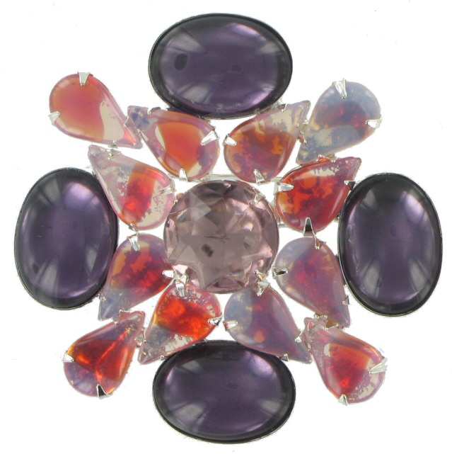 Vintage Purple Pink Glass Crystal Rhinestone Pin Brooch Preview