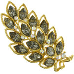 View Item Gold Tone Leaf AB Faux Black Diamond Rhinestone Brooch