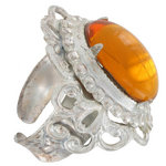 Vintage Topaz Glass Stone Kim Craftsmen Ornate Ring