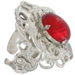 View Item Vintage Red Glass Stone Kim Craftsmen Filigree Ring