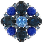 View Item Vintage Crystal Glass Blue Flower Huge Brooch Pin