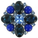 View Item Vintage Crystal Glass Blue Flower Huge Pin Brooch