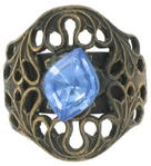 Vintage Neo Victorian Antiqued Gold Tone Light Blue Glass Kim Craftsmen Ring