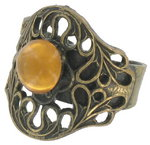 Vintage Neo Victorian Style Antiqued Gold Tone Faux Topaz Glass Ring