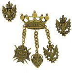 View Item Vintage Coro Crown Crest Pin Brooch Clip Earrings Set