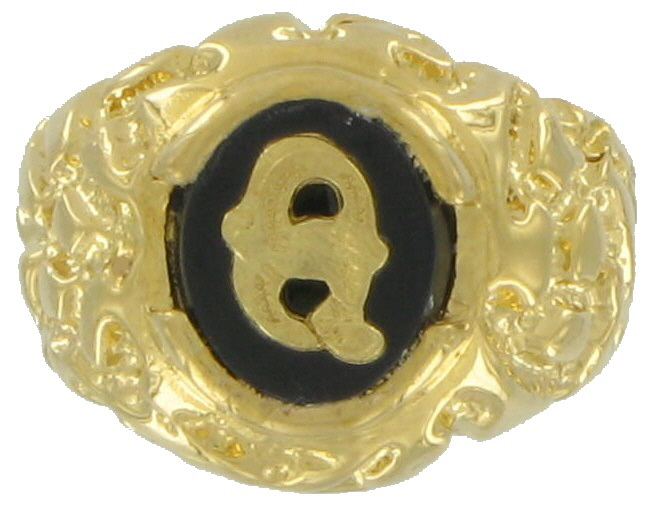 Mens Gold Black Onyx Q Initial Signet 10 Usa Made Rings