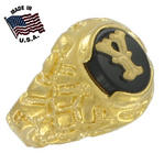 Ring Mens Gold Tone Black Onyx Y Initial Signet Sz 8 USA Made