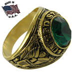 Made In The USA Ring Mens Us Army Gold Electroplate Emerald Green Cz Sz 13