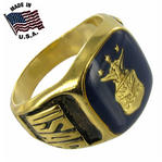USA Air Force Ring Gold GE  Navy Blue Made in US Sz 13