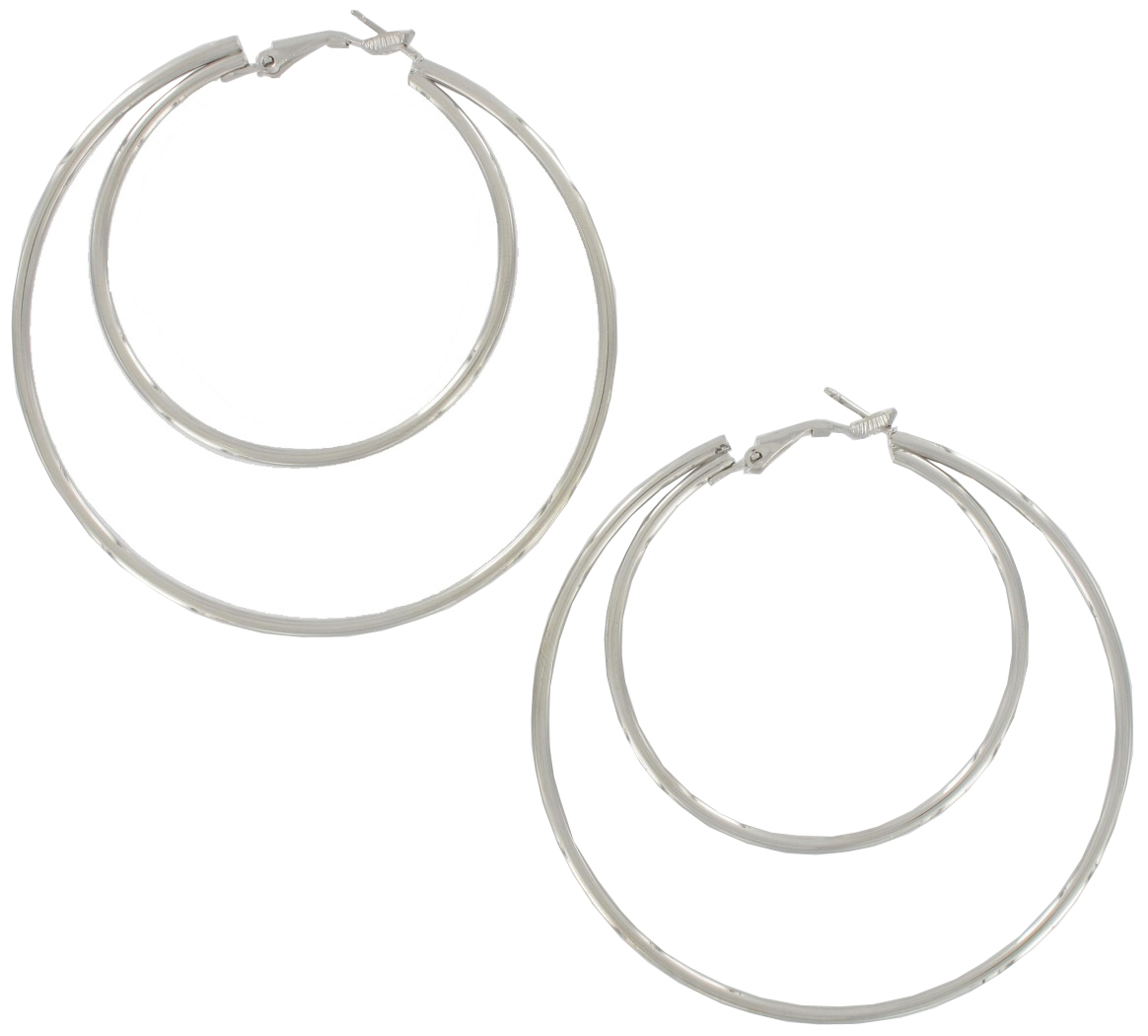 ky co usa pierced earrings hoop new double large silver. Black Bedroom Furniture Sets. Home Design Ideas
